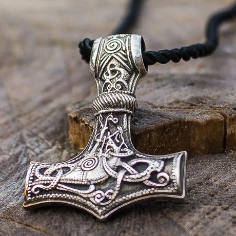 Thor's Hammer Collection // Huge Mjolnir + Mammen Ornament // Silver