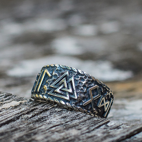 Viking Collection // Valknut + Hail Odin Runes Ring (5)