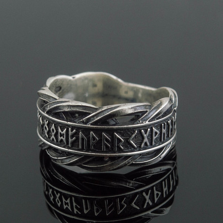 Viking Collection // Elder Futhark Runes + Braided Ornament Ring (5)