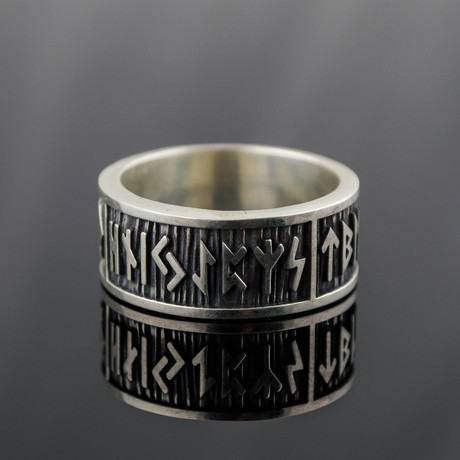 Viking Collection // Elder Futhark Runes Band // Wide Rim (5)
