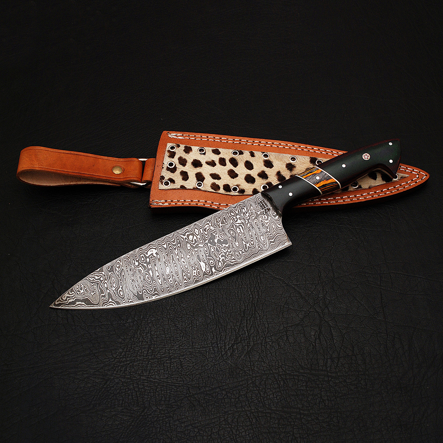 damascus chef knife // 9165 - black forge knives - touch