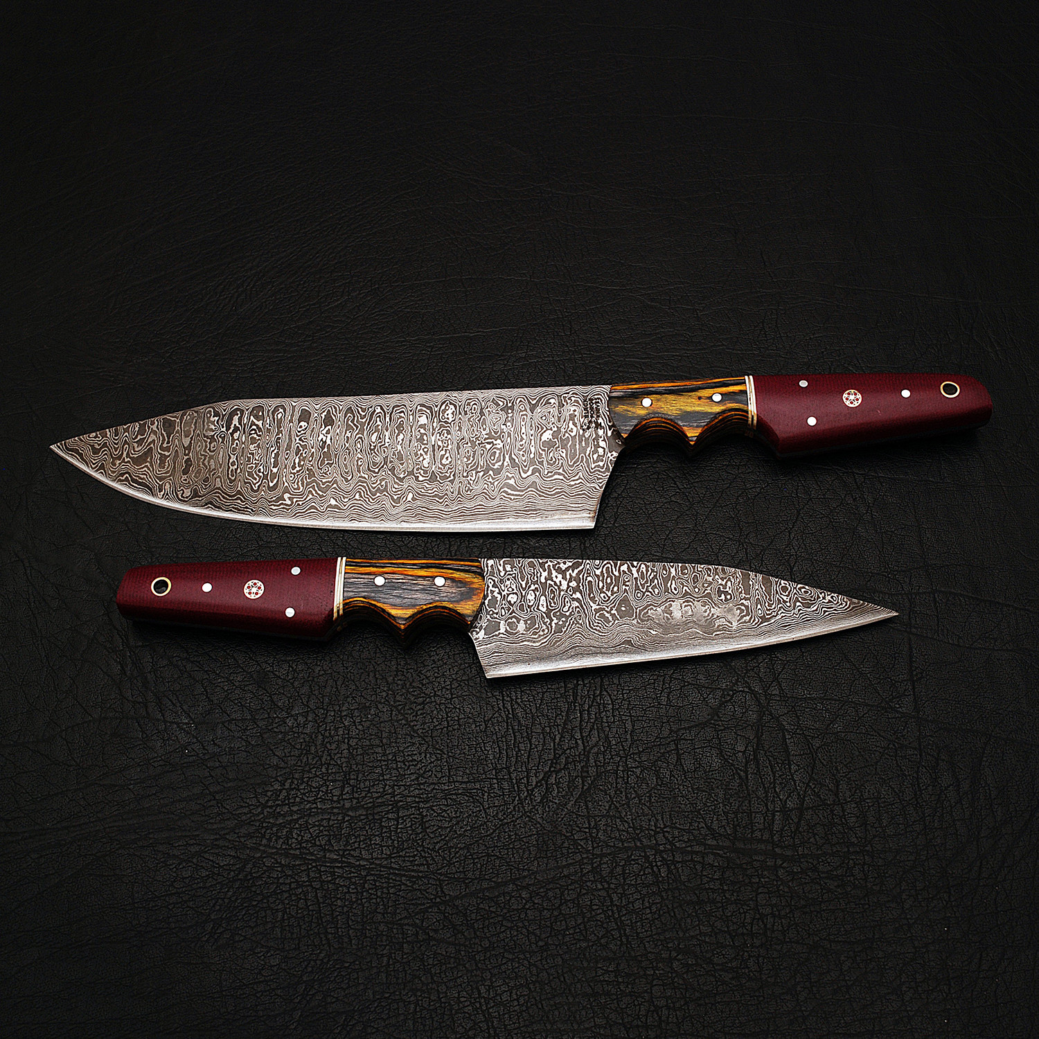 damascus chef knife // 2 piece set // 9177 - black forge