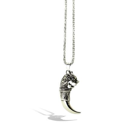 Black Silver Horn Necklace