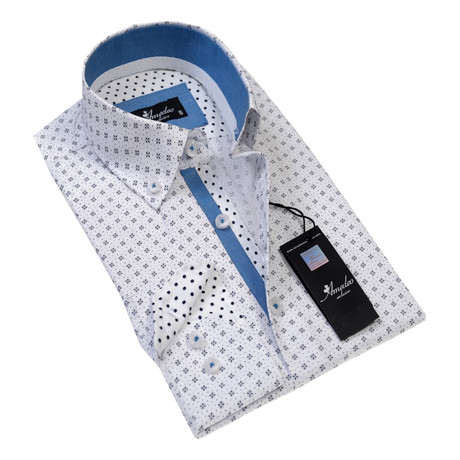 Reversible Cuff Button-Down Shirt // White Black (S)