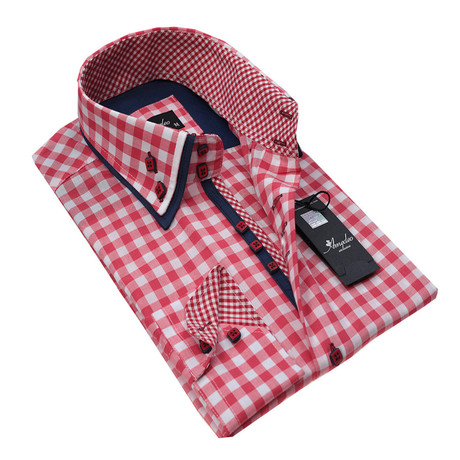 Reversible Cuff Button-Up Shirt // Red + White Checkered (S)