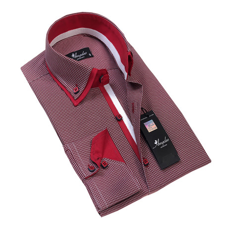 Reversible Cuff Button-Down Shirt // Red Checkers (S)
