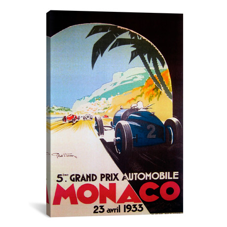 "Grandprix Automobile Monaco 1933 // Vintage Apple Collection (12""W x 18""H x 0.75""D)"