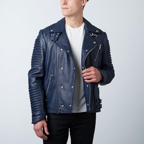 Mason + Cooper // Moto Leather Jacket // Navy (S)