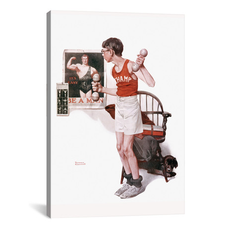 """Boy Lifting Weights // Norman Rockwell (26""""W x 18""""H x 0.75""""D)"""