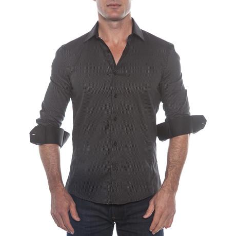 Dot Pattern Button-Up Shirt // Black