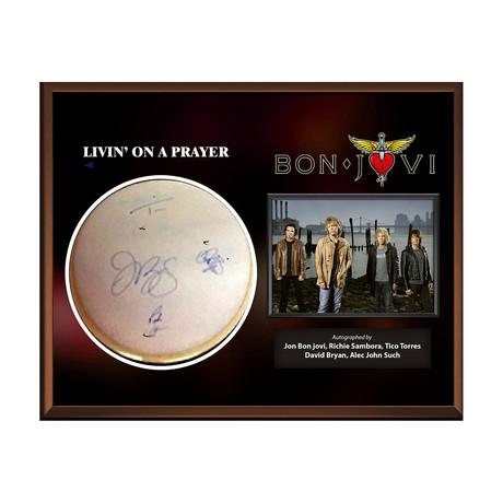 Framed Autographed Drumhead Collage // Bon Jovi