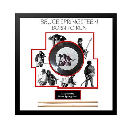 Framed Autographed Drumhead Collage // Bruce Springsteen