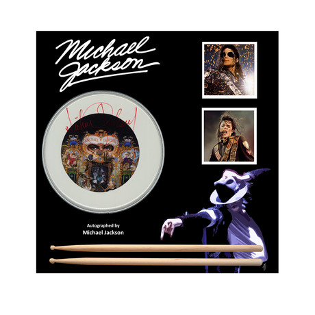 Framed Autographed Drumhead Collage // Michael Jackson