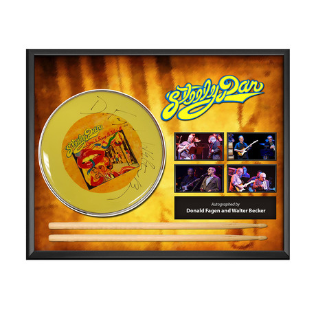 Framed Autographed Drumhead Collage // Steely Dan