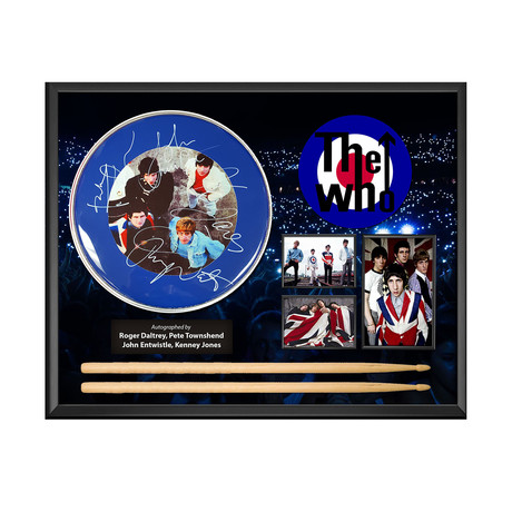 Framed Autographed Drumhead Collage // Who