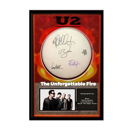 Framed Autographed Drumhead Collage // U2