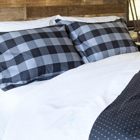 Buffalo Check Woven Herringbone Comforter // Black + Charcoal