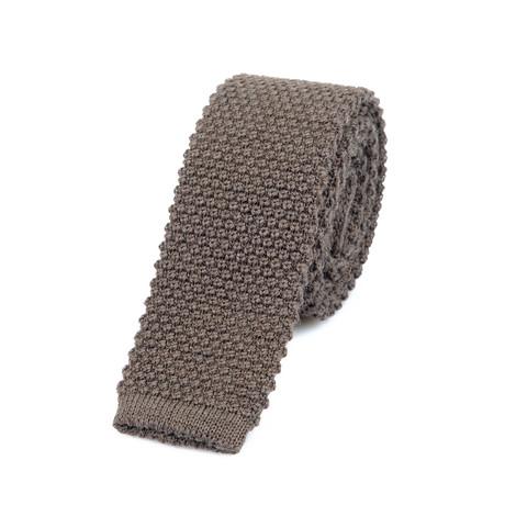 Brunello Cucinelli Textured Knit Straight Tie // Brown
