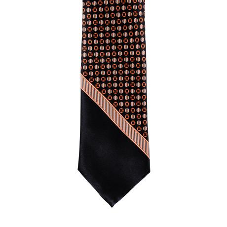 Brioni Dotted Contrast Tie // Black + Orange