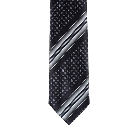 Brioni Dotted Contrast Tie // Black + White