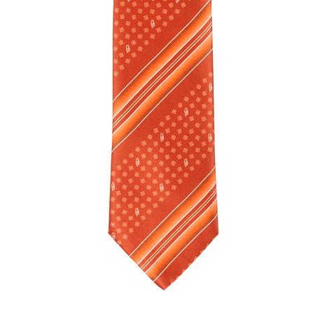 Brioni Dotted Contrast Tie // Orange