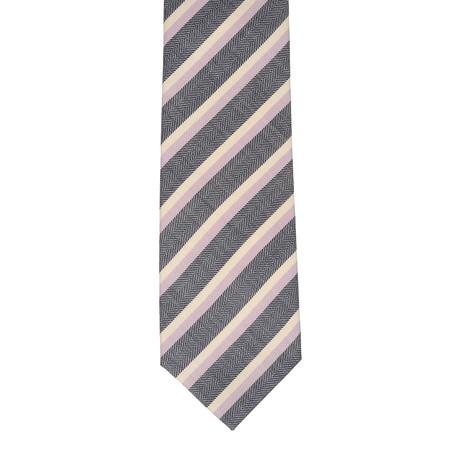 Borrelli Striped Tie // Gray + Pink