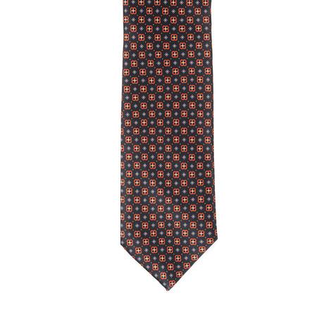 Brioni Patterned Tie // Black + Orange