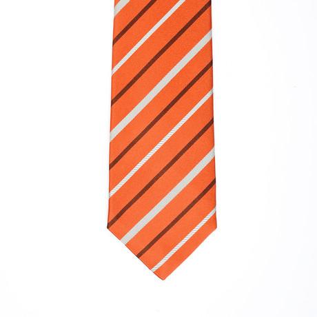 Isaia Striped Tie // Orange + Gray