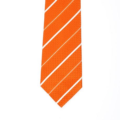 Isaia Striped Tie // Orange