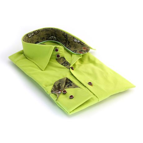 Reversible Cuff Button-Down Shirt // Florecent Green (S)