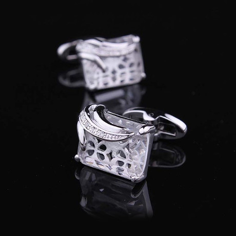 Exclusive Cufflinks + Gift Box // Silver + White Squares