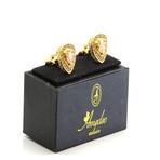Exclusive Cufflinks + Gift Box // Gold + Orange Stone Triangle