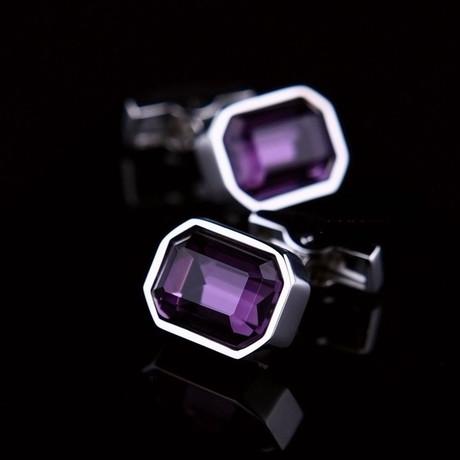 Exclusive Cufflinks Gift Box // Silver + Big Purple Stone Rectangular (OS)