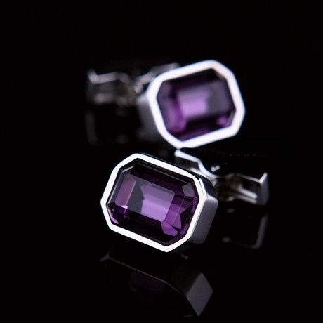 Exclusive Cufflinks + Gift Box // Silver + Big Purple Stone Rectangular
