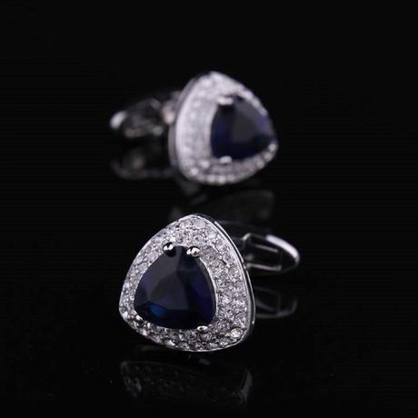 Exclusive Cufflinks Gift Box // Silver + Dark Blue Stone Triangle