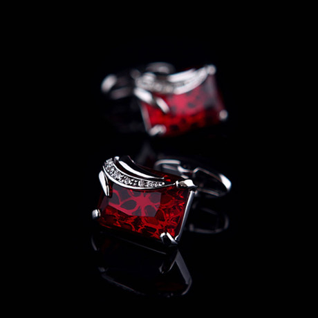 Exclusive Cufflinks + Gift Box // Exclusive Silver + Burgundy Squares