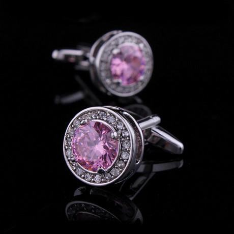 Exclusive Cufflinks Gift Box // Pink Round Big Stone