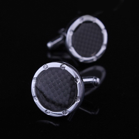Exclusive Cufflinks Gift Box // Silver + Black Carbon Fiber Round
