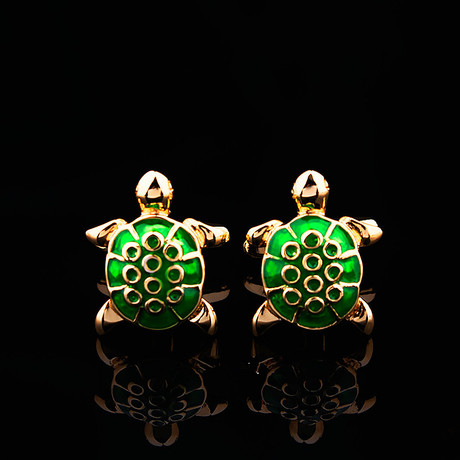 Exclusive Cufflinks + Gift Box // Green + Gold Turtles