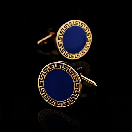 Exclusive Cufflinks + Gift Box // Gold + Blue Circles