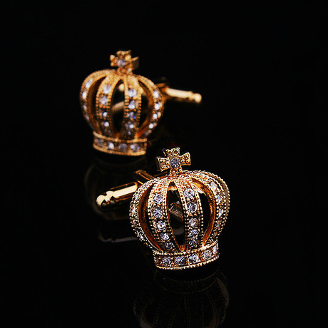 Exclusive Cufflinks + Gift Box // Gold Diamond Crowns