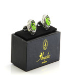 Exclusive Cufflinks + Gift Box // Silver + Big Green Stone