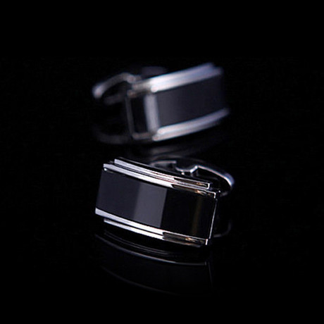 Exclusive Cufflinks + Gift Box // Black Onyx Rectangles