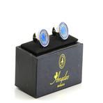 Exclusive Cufflinks + Gift Box // Round Topaz Blue + Stones
