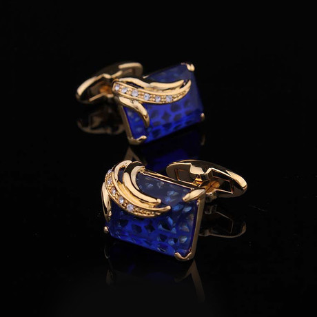 Exclusive Cufflinks + Gift Box // Exclusive Gold + Dark Blue Squares