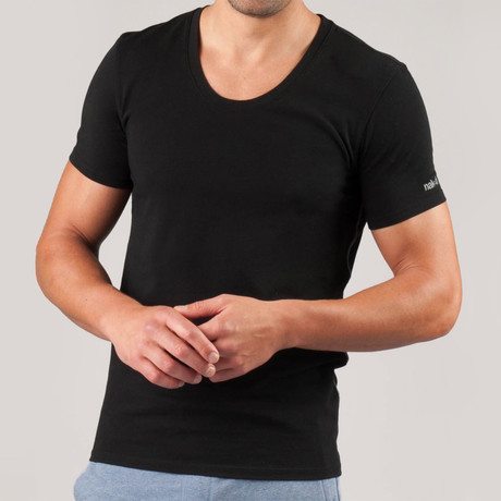 Knit Sleep Scoop Neck Shirt // Black