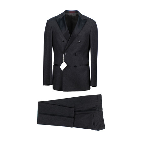 Flannel Wool Satin Trim Double Breasted Tuxedo Suit // Gray