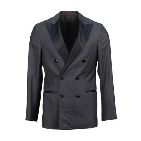 Brunello Cucinelli // Satin Trim Double Breasted Tuxedo Suit // Gray (Euro: 48)