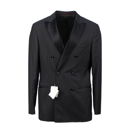 Brunello Cucinelli // Wool Blend Satin Trim Double Breasted Tuxedo Suit // Dark Gray (Euro: 48)