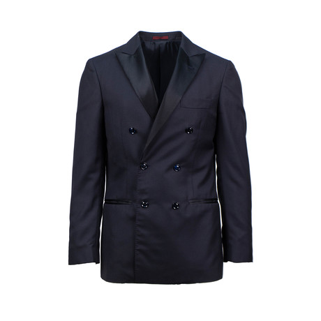 Brunello Cucinelli // Cashmere Satin Trim Double Breasted Tuxedo Suit // Blue (Euro: 52)